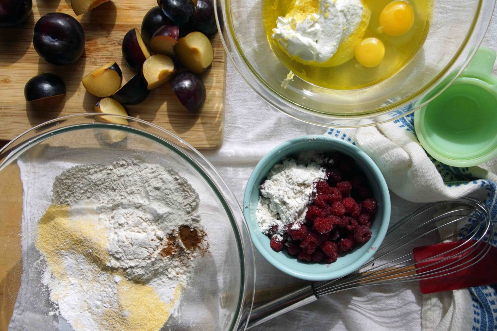 Raspberry & Plum Yogurt-Olive Oil Cake Ingredients