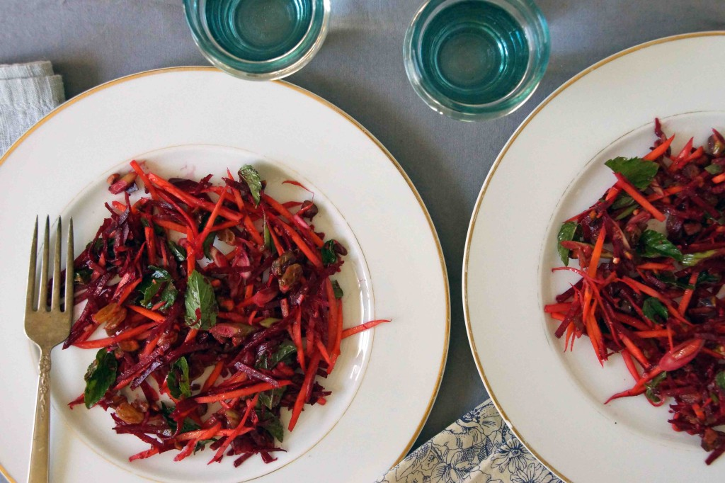 Beet & Carrot Salad with Golden Raisins & Pistachios