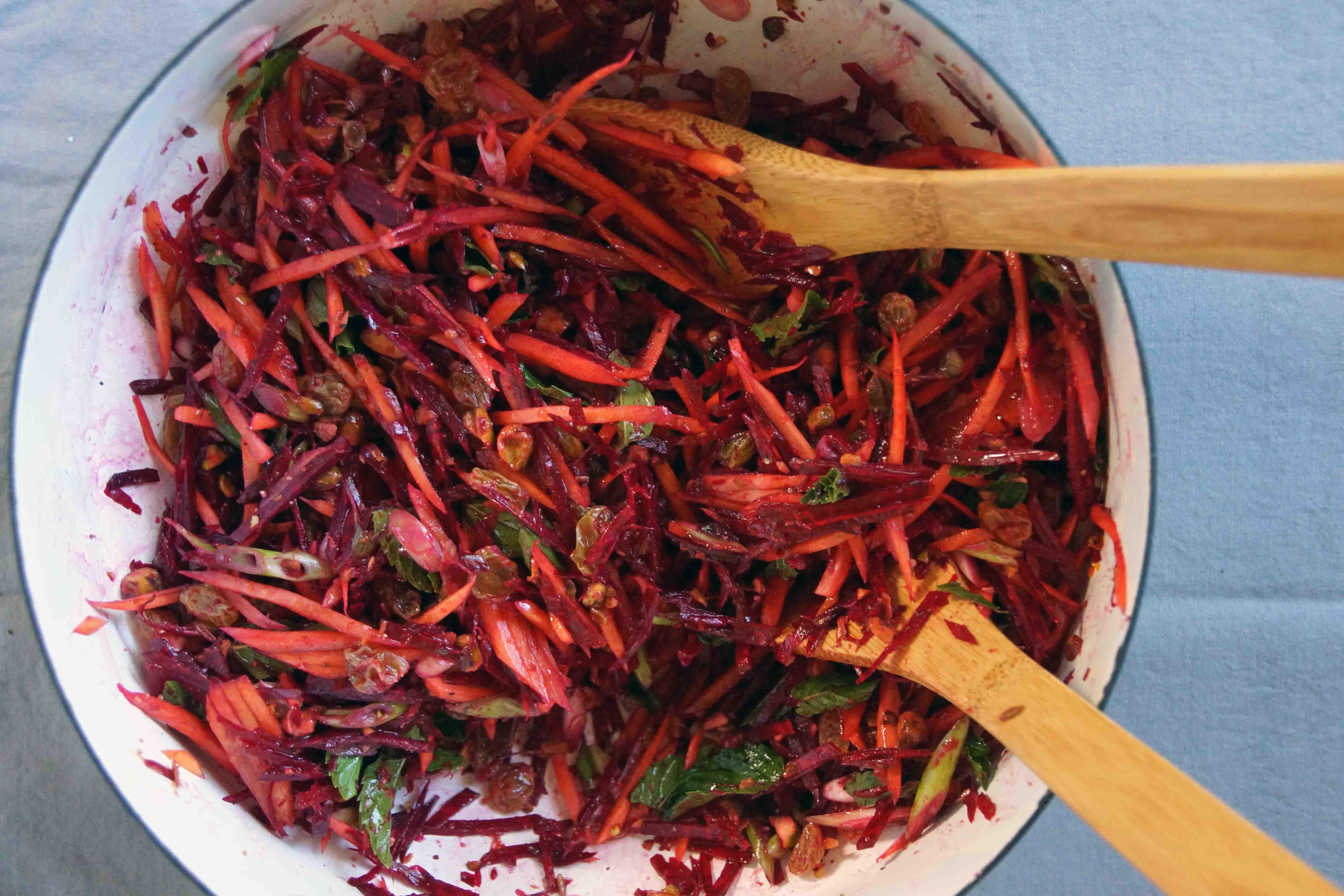 Beet & Carrot Salad with Mint, Raisins & Pistachios