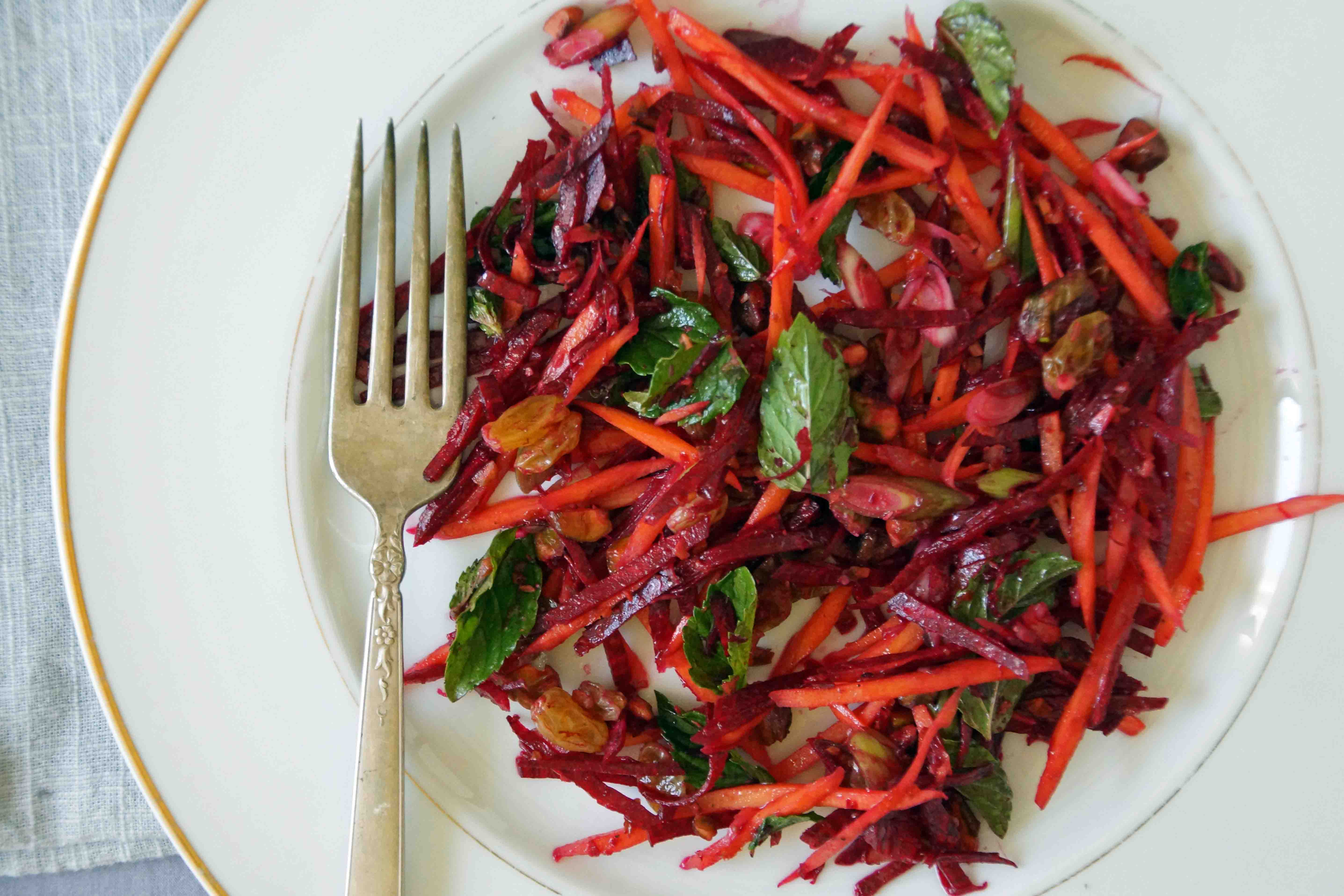 Beet & Carrot Salad with Raisins, Pistachios & Mint
