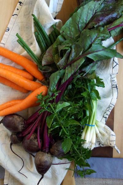 Beets, Carrots, Green Onions