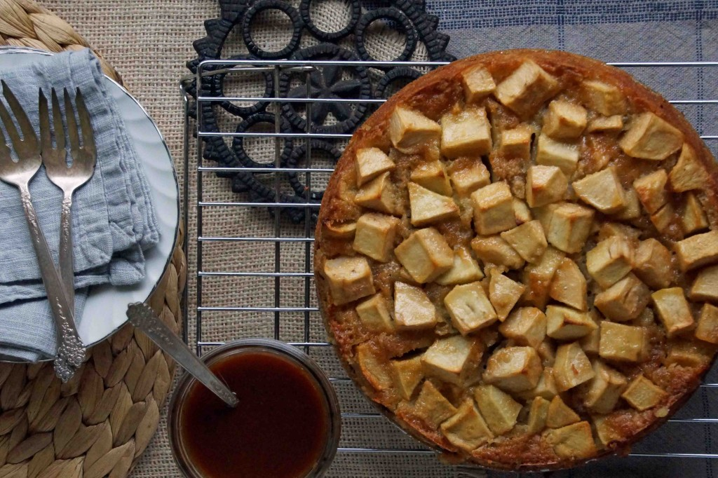 French Apple Cake with Caramel Sauce