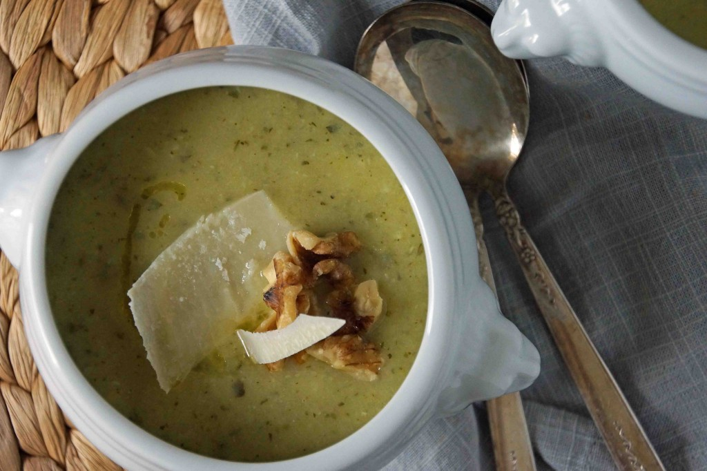 Zucchini-Basil Soup with Parmesan & Walnuts