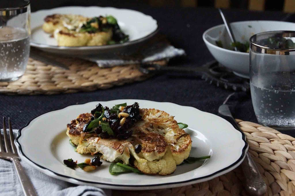 Cauliflower Steak with Black Olive and Currant Gremolata