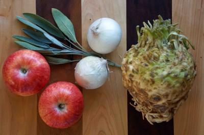 Celery Root, Apples, Onions, Sage