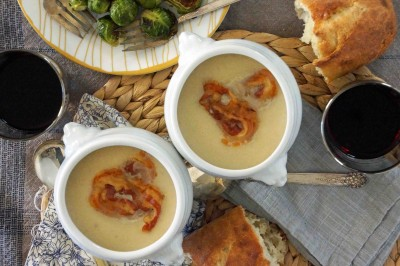 Celery Root and Apple Soup with Pancetta Crisps