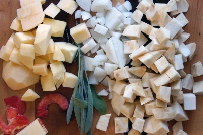 Chopped Apples, Onion, and Celery Root