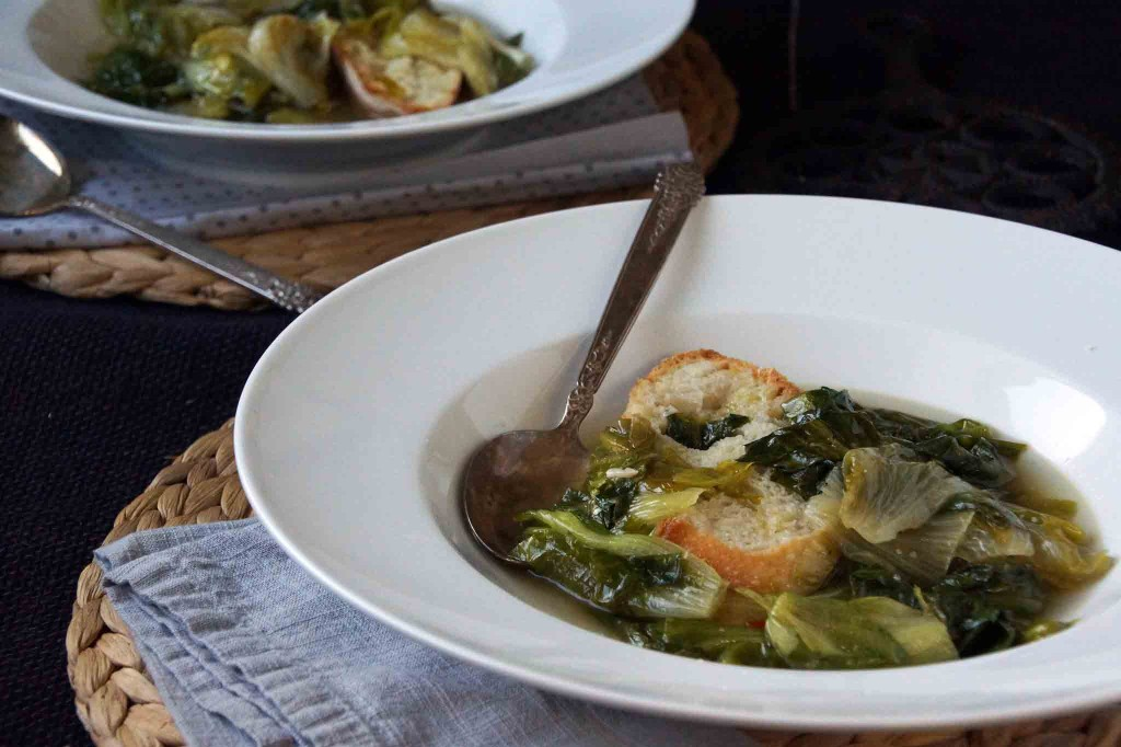 Escarole & Anchovy Soup with Garlic Crostini