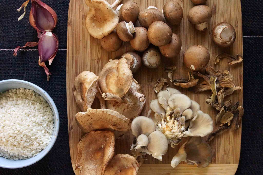 Oyster Mushrooms, Shiitake Mushrooms, Crimini, Dried Porcini