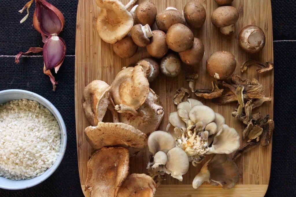 Oyster Mushrooms, Shiitake Mushrooms, Crimini, Dried Porcini