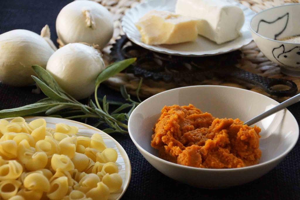Pumpkin Puree, Pasta, Chevre, Sage, Parmesan