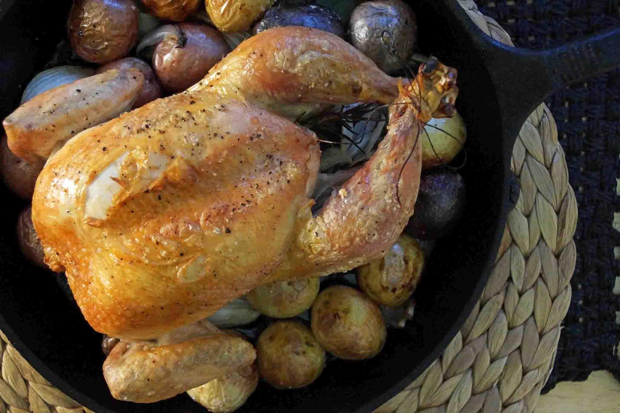 Roast Chicken with Apple Cider Pan Sauce | strawberryplum