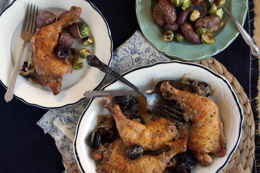 Braised Chicken Legs with Prunes & Brandy