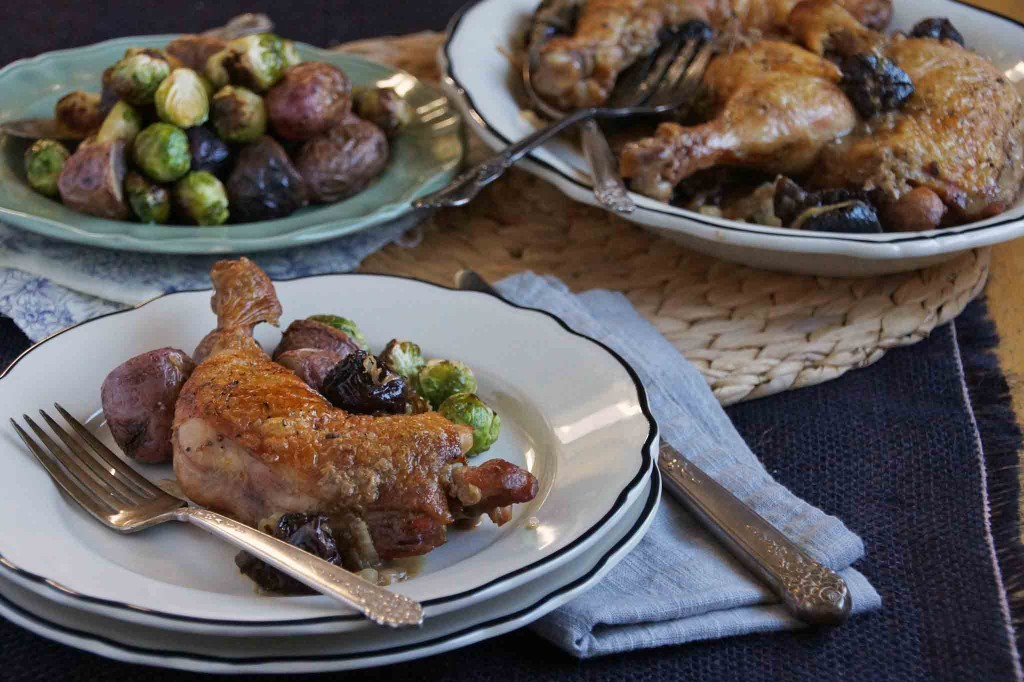 Braised Chicken Legs with Prunes, Brandy, and Dijon Mustard