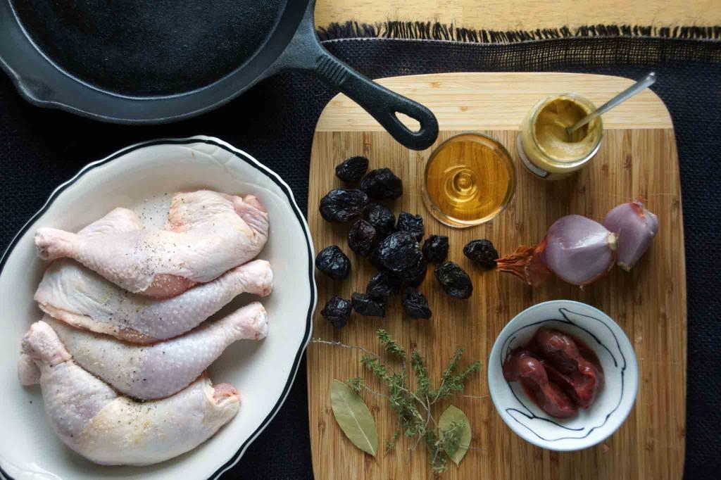 Chicken Legs, Livers, Prunes, Shallot, Dijon Mustard