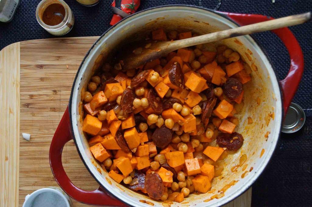 Chickpeas, Sweet Potatoes, and Chorizo