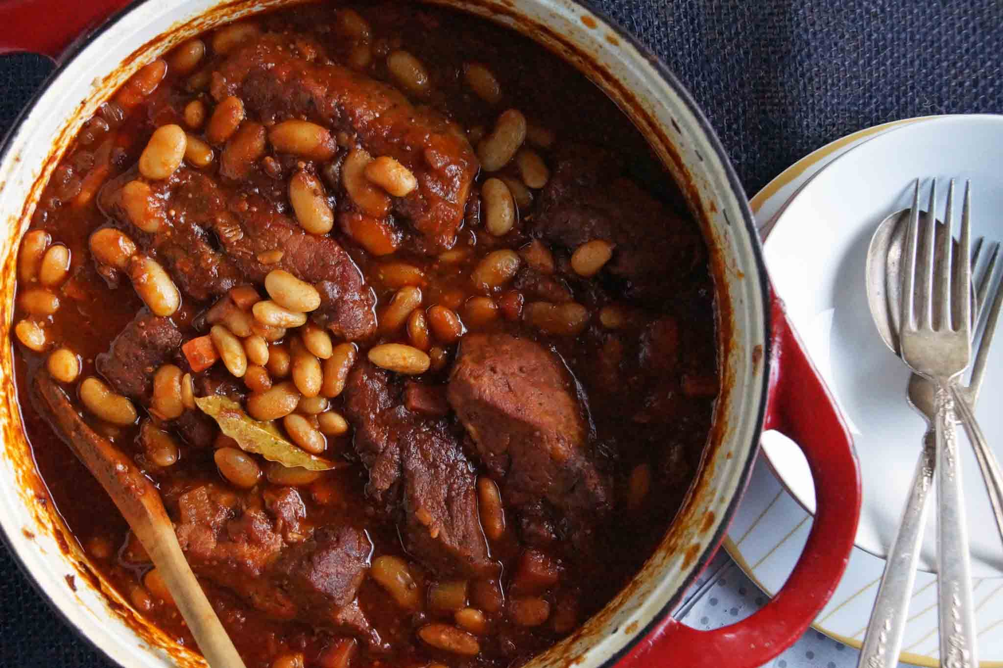 style pork ribs, recipe, braised, apple cider, cannellini beans, pork ...