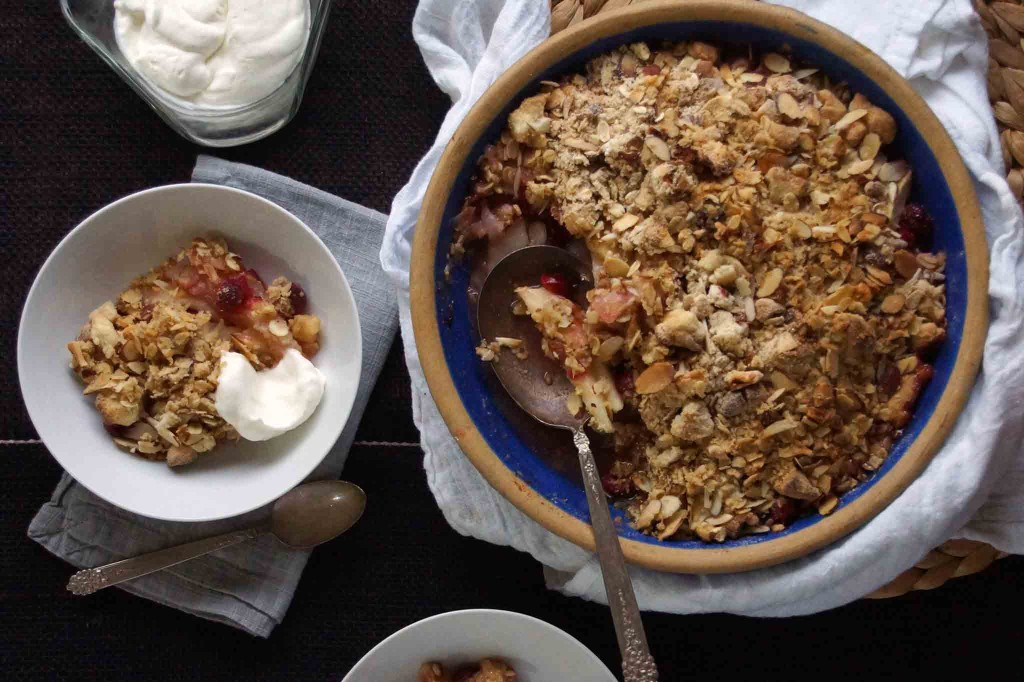 Cranberry Pear Crisp with Almonds and Ginger