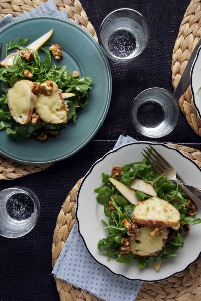 Pear & Arugula Salad with Candied Walnuts & Cheesy Croutons