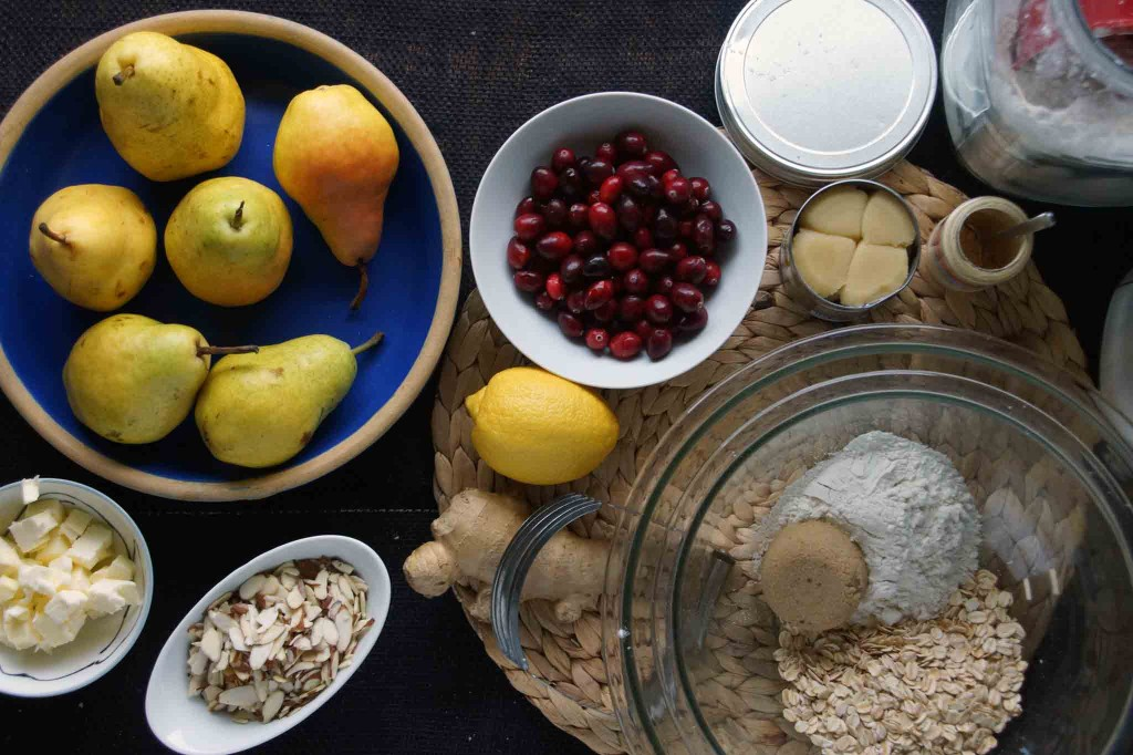 Pears, Cranberries, and Crisp Ingredients