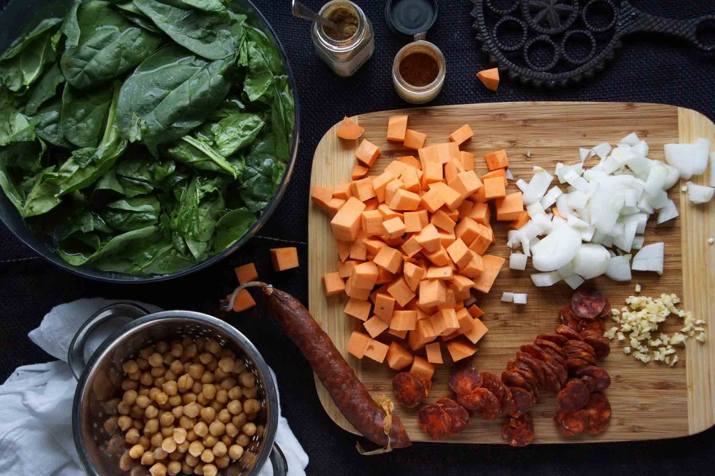 Prepped Ingredients for Chickpea, Kale, and Chorizo Soup