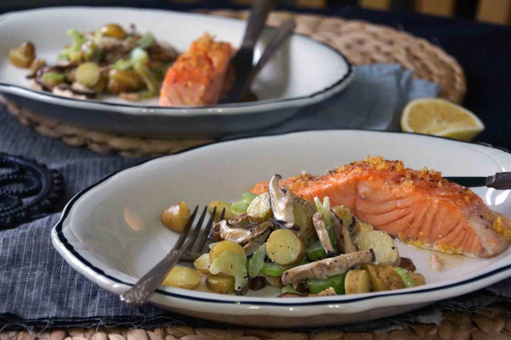 Salmon with Warm Potato, Mushroom, and Celery Salad