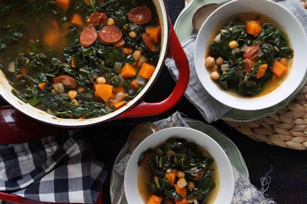 Sweet Potato, Chickpea & Chorizo Soup with Greens