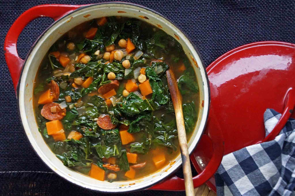 Sweet Potato, Chickpea, and Chorizo Soup with Kale and Spinach