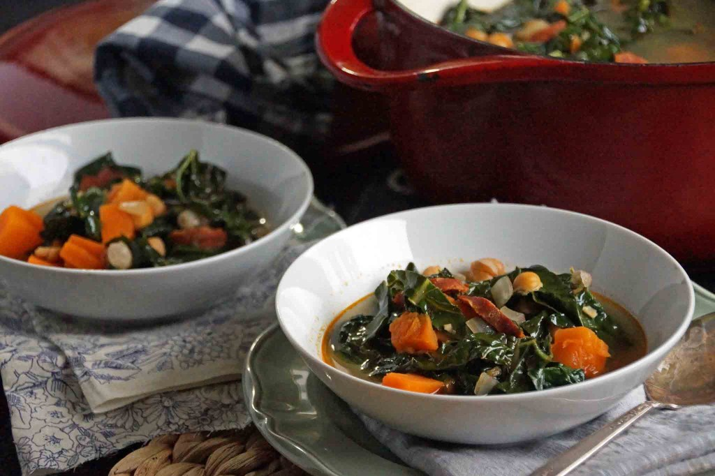 Sweet Potato, Chickpea, and Chorizo Soup with Spinach and Kale