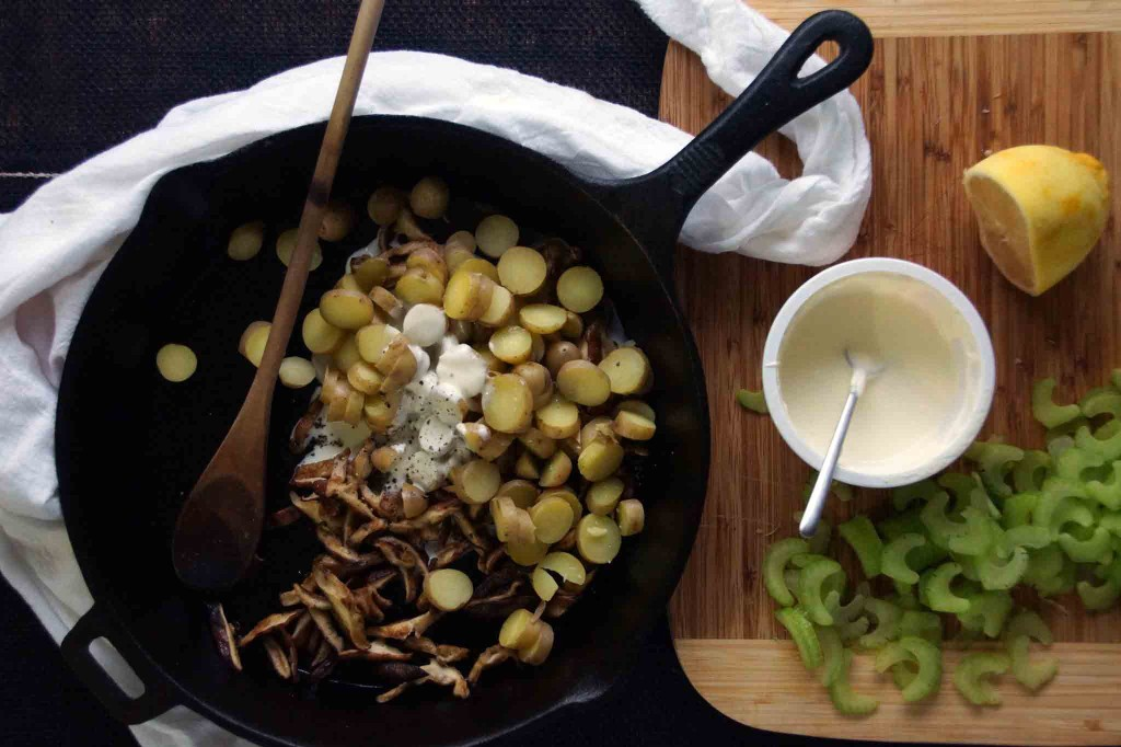 Warm Potato, Mushroom, and Celery Salad