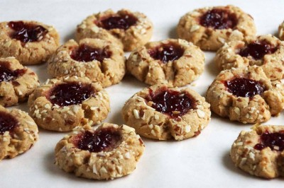 Cherry Almond Butter Thumbprint Cookies
