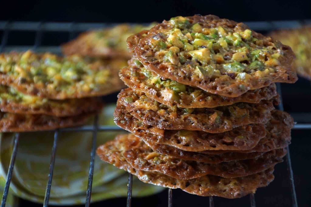 Pistachio, Honey & Orange Florentine Cookies