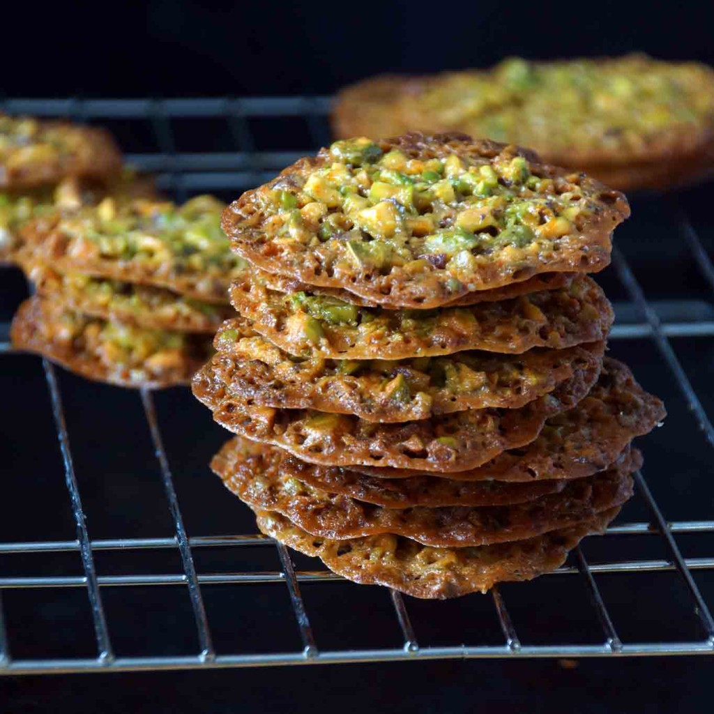 Pistachio, Orange & Honey Florentines (Lace Cookies) | strawberryplum
