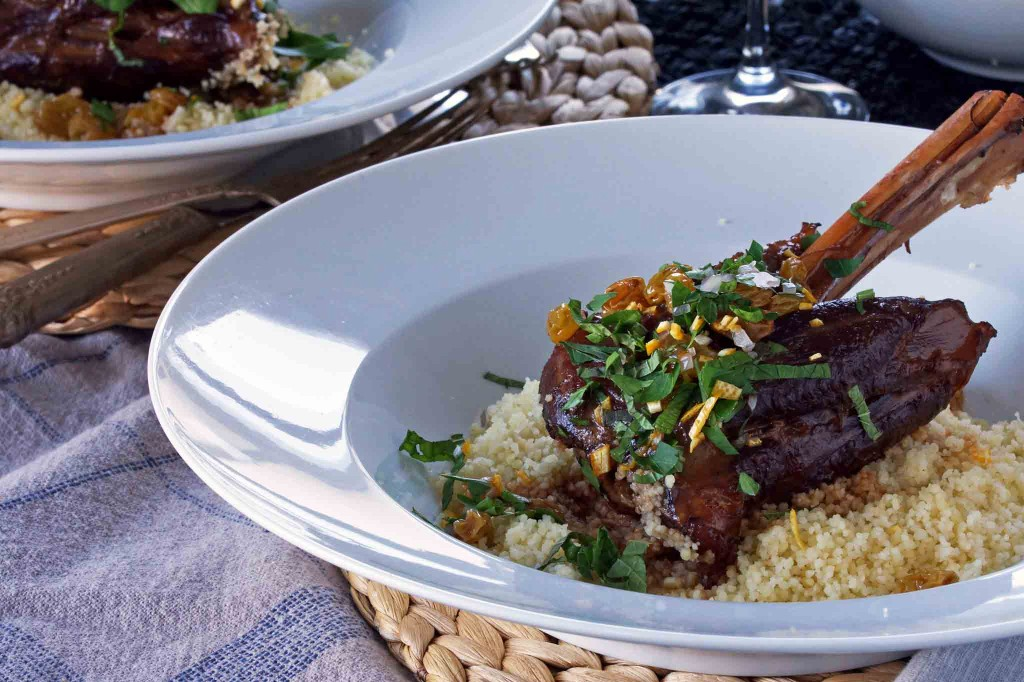 Braised Lamb Shanks with Raisins & Mint Gremolata