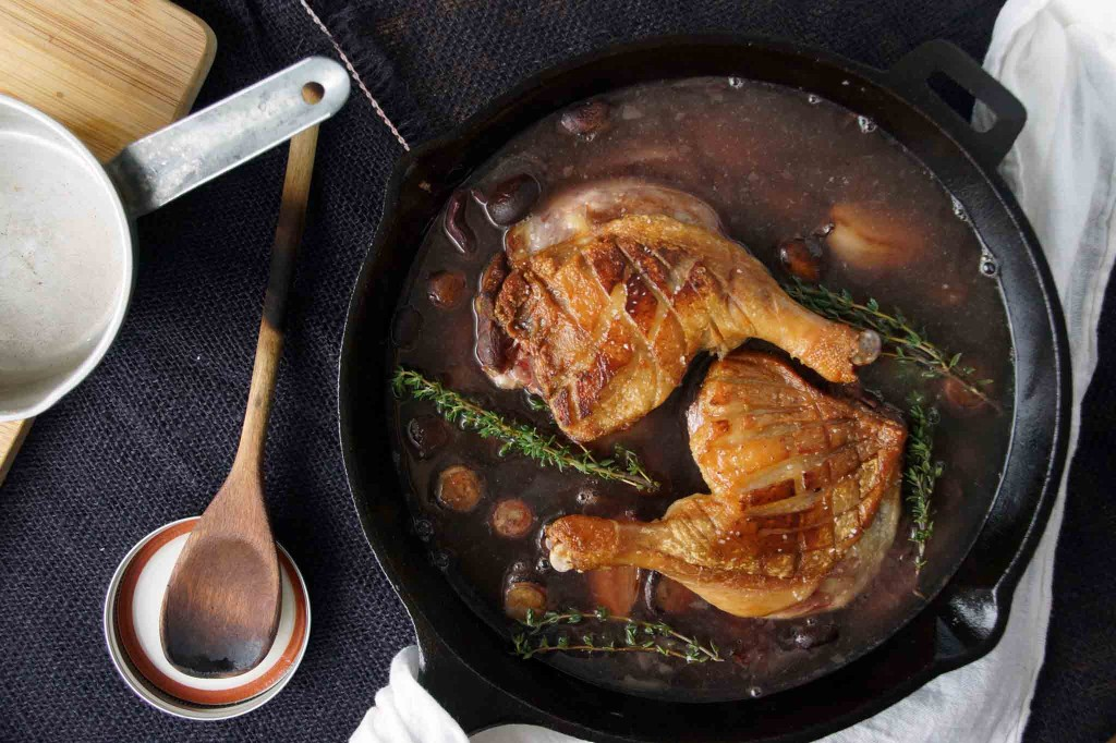 Braising Duck Legs in Red Wine