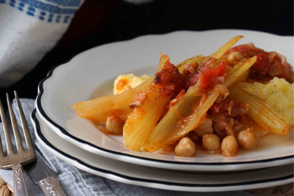 Italian braised celery with tomatoes, chickpeas & bacon