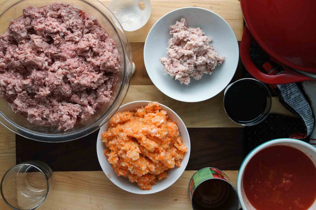 Prepped Ingredients for Bolognese Sauce