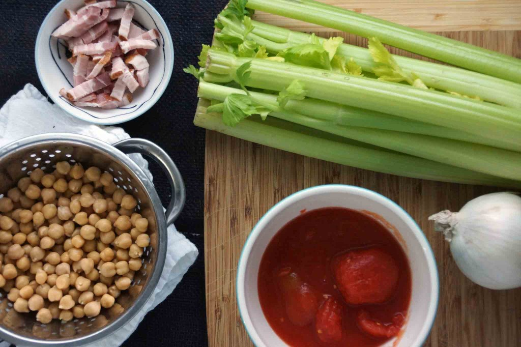 celery, bacon, tomatoes, onion & chickpeas