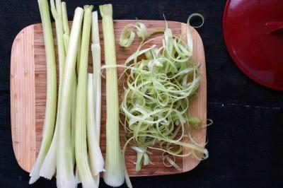 peel the celery strings