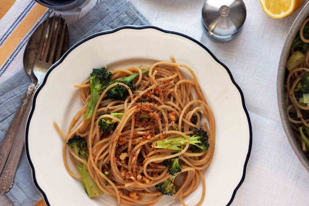 Spaghetti with Roasted Broccoli & Anchovies