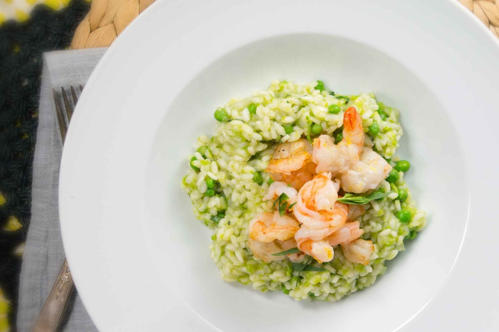 Spring Green Pea & Tarragon Risotto with Shrimp