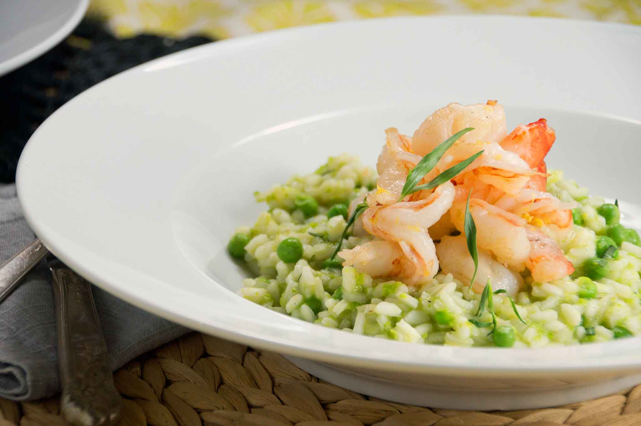 Spring Pea & Tarragon Risotto with Shrimp | strawberryplum