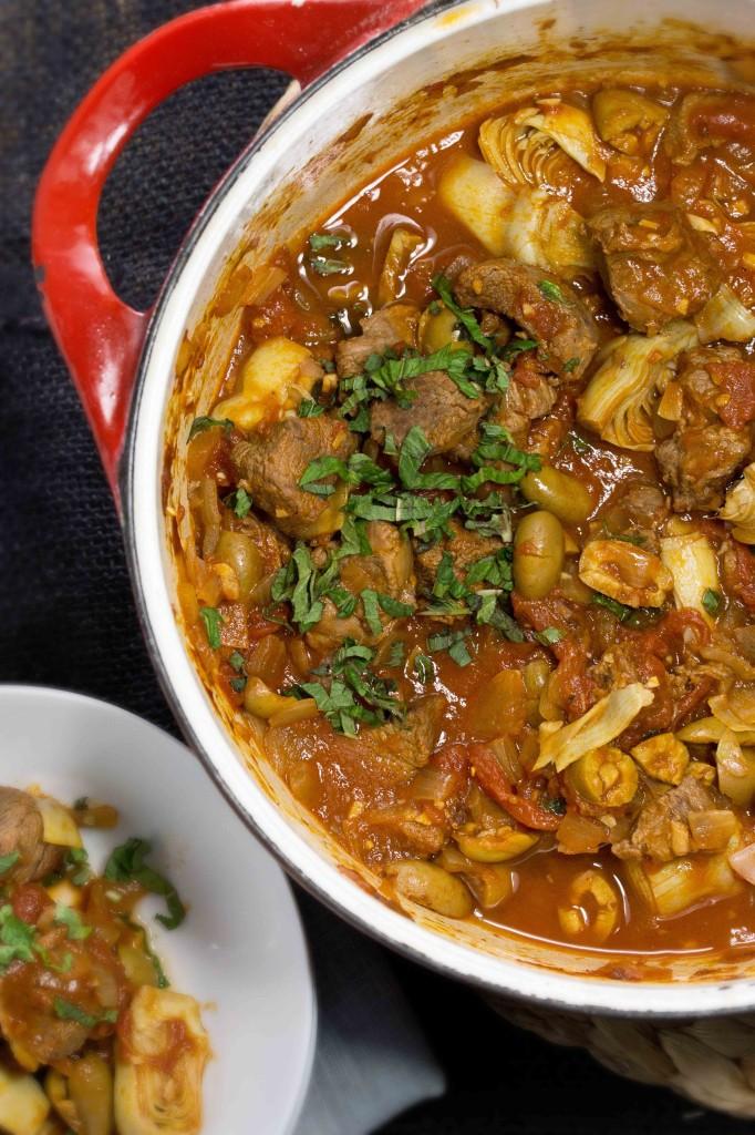 Lamb Stew with Artichokes, Olives & Mint | strawberryplum
