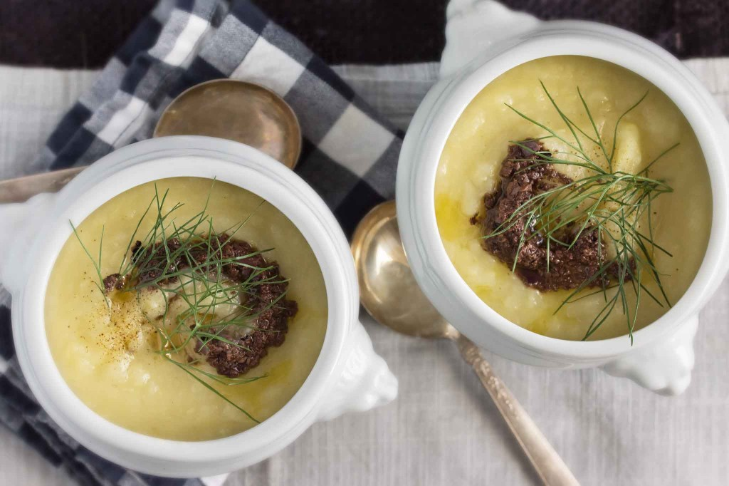 Potato, Fennel & Leek Soup with Olive Tapenade | strawberryplum