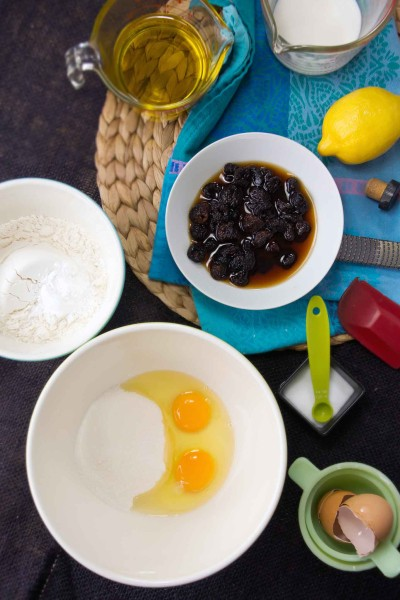 Prepping Olive Oil Cake Ingredients