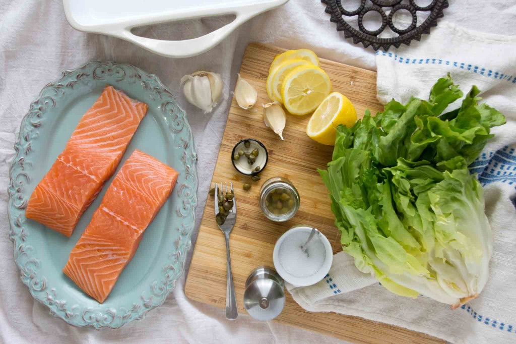 Salmon, Escarole, Capers, Lemon