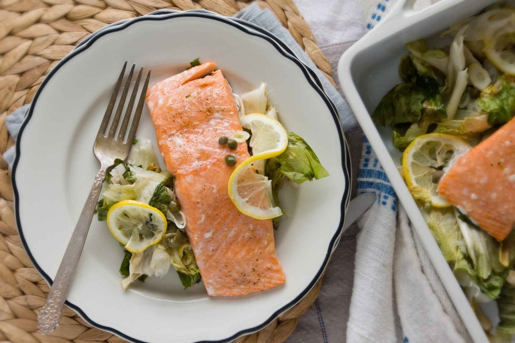 Slow Roasted Salmon with Escarole, Capers & Lemon | strawberryplum