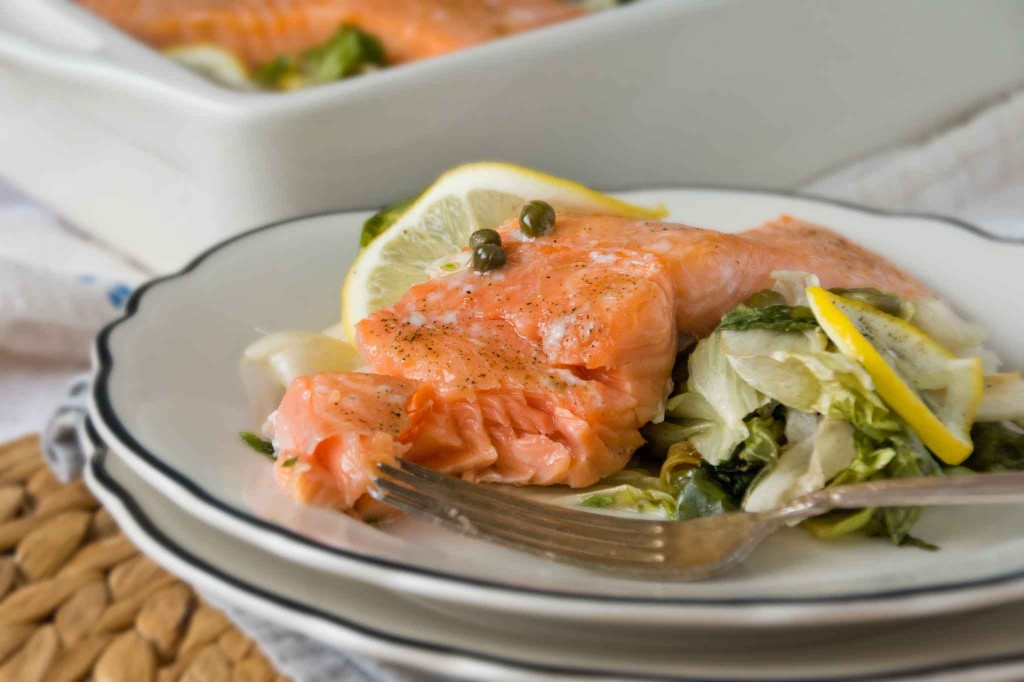 Slow Roasted Salmon with Escarole, Capers & Lemon