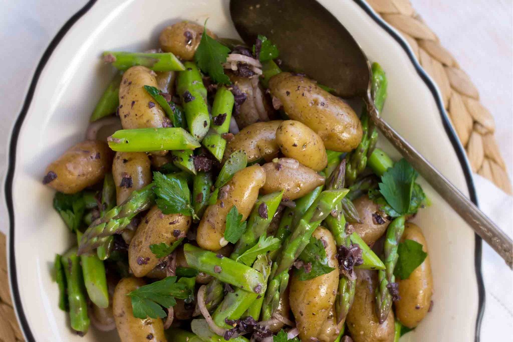 Potato & Asparagus Salad with Black Olive Vinaigrette