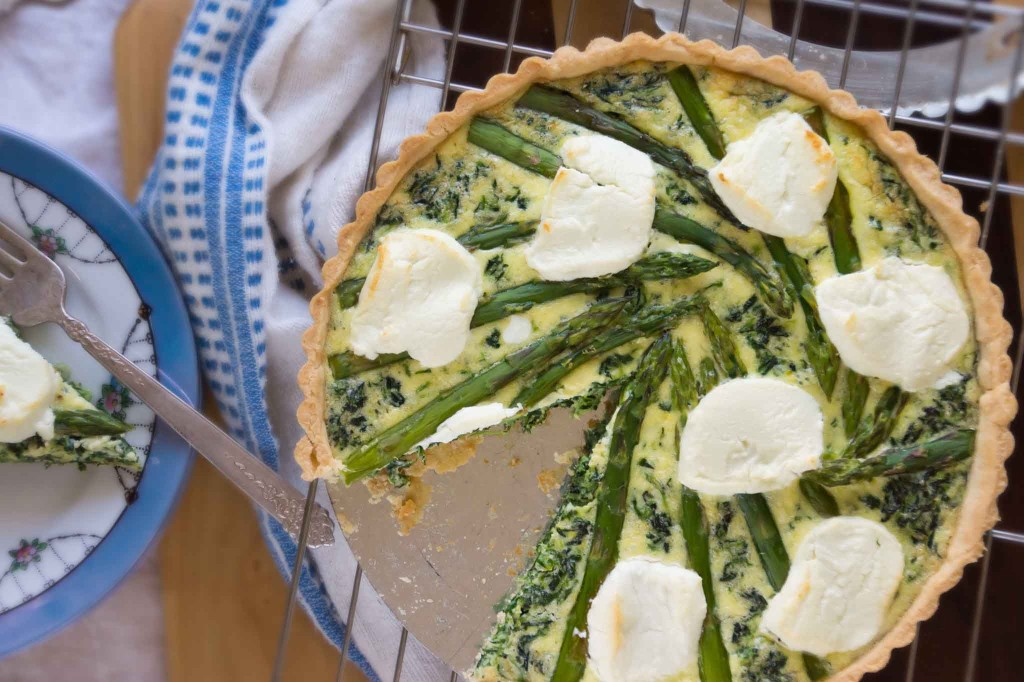 Asparagus, Spinach, and Chevre Tart